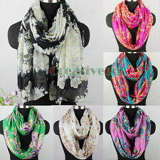 Flower Print Long Scarf /Soft Infinity Loop Cowl Circle Casual Voile Scarf New