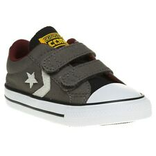 New Infants Converse Grey Star Player 2v Ox Canvas Trainers Plimsolls Velcro