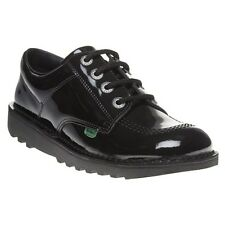 New Boys Kickers Black Kick Lo Core Leather Shoes Lace Up