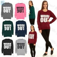 Womans Jumper Ladies Work Out Print Sweatshirt Long Sleeve Tops Over Plus Size