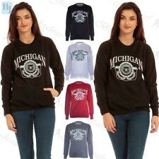 Womans Michigan Long Sleeve Ladies Oversized Two Pockets Jumper Sweatshirt Top