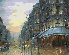 Late Afternoon Paris View Needlepoint Canvas