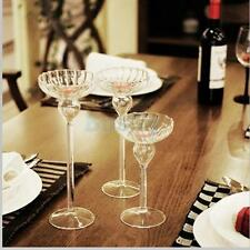 Clear Glass Candle Holder Candlestick Tealight Wedding Party Dinner Table Decor