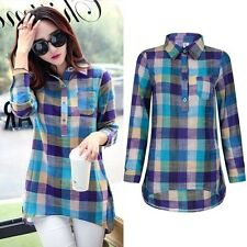 Women Check&Plaids Casual Loose Shirts Long Sleeve T-Shirt Blouse Tops Plus Size