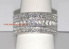 Wedding Band Emerald Cut And Princess CZ .925 Silver Eternity Ring Size 5
