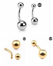 G23 Titanium Double Ball Barbell Eyebrow Navel Belly Button Rings 14G 10mm Hot