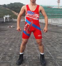 Cartoon Wresting USA Wrestling Singlet Wrestling Outfit Gym Weight Lifting Suit