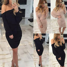 Womens Off-shoulder Draped Long Sleeve Bodycon Party Evening Cocktail Mini Dress