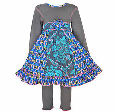 AnnLoren Girls Boutique Floral and Geometric Dress 2 pc Outfit 12/18 mo - 11/12