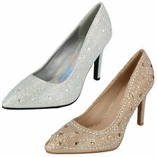 Ladies Anne Michelle Diamante And Gem Detail Court Shoes (2 Colours) Style F9947