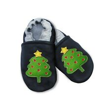 Chaussons Cuir Souple / Motif SAPIN NOEL