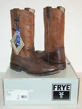 New $348 Frye Wyatt Americana Cowboy Boot Dark Brown Distressed Belk 125th Rare