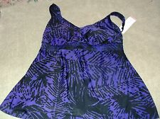 Liz Lange Maternity Tankini Top Size M  Padded  NWT Black/Purple-Blue/Multi