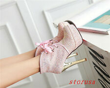 Squines Women High Heel Ankle Boots Shoes Lace Up Platform Shoes Fashion Size