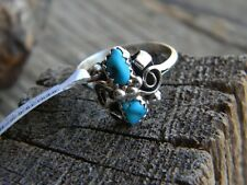 Sterling silver ladies Navajo ring 2 blue turquoise  size 7 or 8