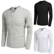 Henley Shirts Men COOFANDY Casual V Neck Long Sleeve Solid Slim Fit T Shirt