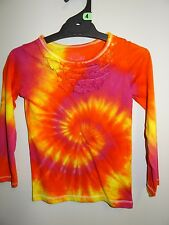 GIRLS GORGEOUS LONG SLEEVE TIE DYE / DYED HIPPY AWESOME FUNKY TEE SHIRT SIZE 4