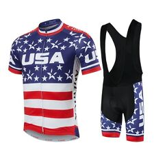 Men's Cycling Bib Kit USA Cycling Jersey and Bib Shorts Set Biking Wear S-5XL