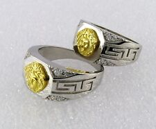 Ring men s jewelry 925 Sterling Silver Gold Ton Medusa Greek Design Size 9 & 11