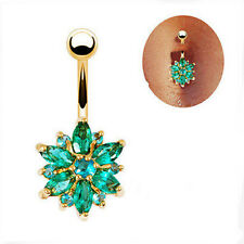 Belly Button Rings Crystal Rhinestone Flower Navel Bar Body Piercing Jewelry