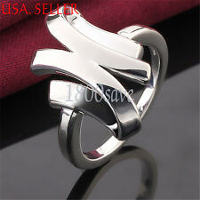 Designer Inspired 925 Sterling Silver 3-D Unique Shaped Fashion Band Ring E839