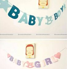 Baby Shower Baby Boy Bunting Garland Hanging Banner Flags Christening Party