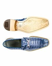Belvedere Mens shoes Mercuri Blue Jean 100% genuine Crocodile skin Slip On 1483