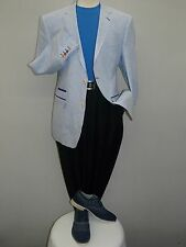 Mens INSERCH 100% Linen Half lined Summer Jacket Seer Sucker stripe 5318 Royal