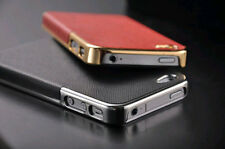 New Frame Luxury Leather Chrome Hard Back Case Cover For iPhone 5/5S