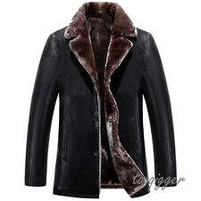 Men's Fur Lining Fleece Jacket Lapel Outwear Thicken Furry Coat PU Leather Parka