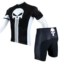 Punisher Cycle Clothing Men's Cycling Set Black Bike Jersey and Shorts Kit S-5XL
