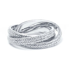 Peermont Jewelry Rhodium Plated and Cubic Zirconia 3-row Rolling Ring