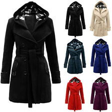 2016 Women's Fashion Winter Hooded Belted Double-Breasted Wool Blends Long Coat