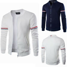 Men Mens Casual Slim Fit Baseball Coat Cotton Jacket Outerwear Tops Sweater New