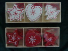 Set of12 Red Or White Wooden Hanging Christmas Tree Decorations Tree Heart Star