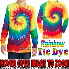 Youth Tie Dye LONG SLEEVE RAINBOW T-Shirt Boys Girls Kids Tee XS, S, M, L, XL