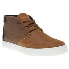 New Mens Lacoste Tan Clavel Leather Trainers Chukka Boots Lace Up