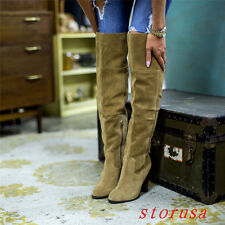 Women Lady Pleated Suede Over Knee High Boots Shoes Knight Size 34-45 Hot Sale