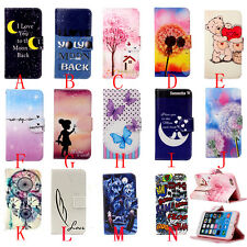 Flip Magnetic Painted Card Holder Wallet Leather Stand Case Cover For phone