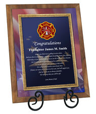 Firefighter Academy Graduation Gift Fire School Graduate Walnut Fireman Plaque