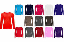 PACK OF 3 PCS LADIES WOMENS PLUS SIZE LONG SLEEVE STRETCHY PLAIN TOPS SIZES 8-18