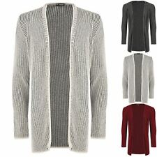 Mens Open Full Sleeve Contrast Ribbed Knitted Knitwear Sweater Jumper Cardigan