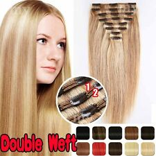 THICK 100% Double Weft Clip In Remy Human Hair Extension Full Head FestivalQU061