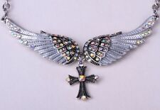 Necklace Silver Plated Angel Wing Cross pendant Jewelry