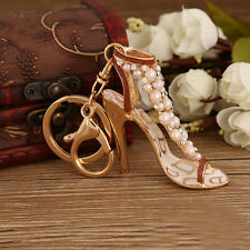 Enamel Women Handbag Keychain Crystal Golden High Heeled Shoes Key Ring top