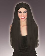 "Forum Extra Long 30"" Black Wig Goth Halloween Costume Witch Hippie Vampire Vamp"