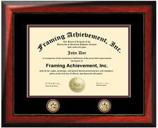 University diploma frame two medallion seal graduation college degree framing