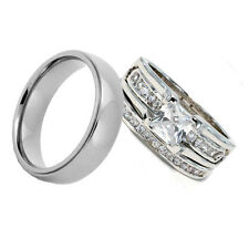 His Hers Wedding Ring Sets Rhodium Plated Brass Princess Cubic Zirconia Titanium