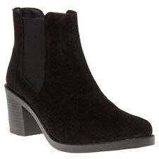 New Womens SOLE Black May Suede Boots Ankle Elasticated Pull On