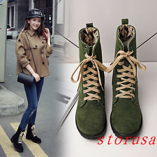 Korean Faux Suede Women Lady Flat Heel Ankle Boots Shoes Lace Up Punk Size New